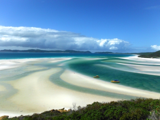 A photo of Whitehaven beach at low tide